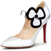 Replica Christian Louboutin Pensee 100mm Mary Jane Pumps Silver Cheap Fake Shoes