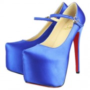 Replica Christian Louboutin Lady Daf 160mm Mary Jane Pumps Blue Cheap Fake Shoes