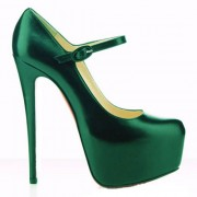 Replica Christian Louboutin Lady Daf 160mm Mary Jane Pumps Green Cheap Fake Shoes
