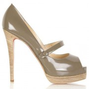 Replica Christian Louboutin No Barre 140mm Mary Jane Pumps Grey Cheap Fake Shoes