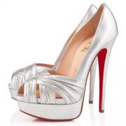 Replica Christian Louboutin Jenny 140mm Peep Toe Pumps Silver Cheap Fake Shoes