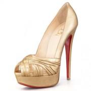 Replica Christian Louboutin Jenny 140mm Peep Toe Pumps Gold Cheap Fake Shoes