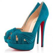 Replica Christian Louboutin Jenny 140mm Peep Toe Pumps Caraibes Cheap Fake Shoes