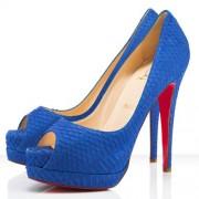Replica Christian Louboutin Altadama 140mm Peep Toe Pumps Blue Powder Cheap Fake Shoes