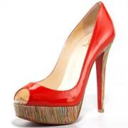 Replica Christian Louboutin Banana 140mm Peep Toe Pumps Red Cheap Fake Shoes