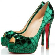 Replica Christian Louboutin Sobek 100mm Peep Toe Pumps Green Cheap Fake Shoes