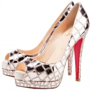 Replica Christian Louboutin Sobek 100mm Peep Toe Pumps Platine Cheap Fake Shoes