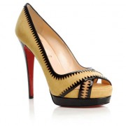 Replica Christian Louboutin Very Jaws 140mm Peep Toe Pumps Yellow Cheap Fake Shoes