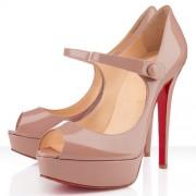 Replica Christian Louboutin Bana 140mm Peep Toe Pumps Nude Cheap Fake Shoes