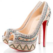 Replica Christian Louboutin Bollywoody 140mm Peep Toe Pumps Taupe Cheap Fake Shoes