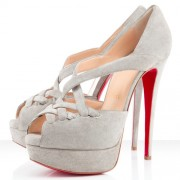 Replica Christian Louboutin Lady Corset 140mm Peep Toe Pumps Taupe Cheap Fake Shoes