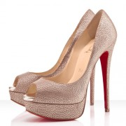 Replica Christian Louboutin Lady Peep Spikes 140mm Peep Toe Pumps Gold Cheap Fake Shoes