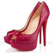 Replica Christian Louboutin Lady 140mm Peep Toe Pumps Pink Cheap Fake Shoes