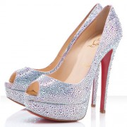Replica Christian Louboutin Lady Peep Strass 140mm Peep Toe Pumps Aurora Boreale Cheap Fake Shoes
