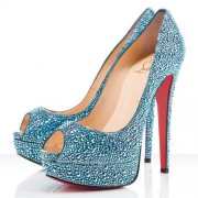 Replica Christian Louboutin Lady Peep Strass 140mm Peep Toe Pumps Blue Cheap Fake Shoes