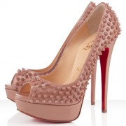Replica Christian Louboutin Lady Peep Spikes 140mm Peep Toe Pumps Nude Cheap Fake Shoes
