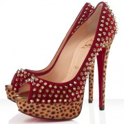 Replica Christian Louboutin Lady Peep Spikes 140mm Peep Toe Pumps Red Cheap Fake Shoes