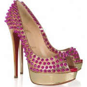 Replica Christian Louboutin Lady Peep Spikes 140mm Peep Toe Pumps Gold Rose Cheap Fake Shoes