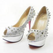 Replica Christian Louboutin Lady Peep Spikes 140mm Peep Toe Pumps Silver Cheap Fake Shoes