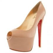 Replica Christian Louboutin Highness 160mm Peep Toe Pumps Beige Cheap Fake Shoes