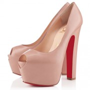 Replica Christian Louboutin Shameless 160mm Peep Toe Pumps Nude Cheap Fake Shoes
