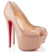 Replica Christian Louboutin Highness 160mm Peep Toe Pumps Nude Cheap Fake Shoes