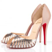 Replica Christian Louboutin Corpus 120mm Peep Toe Pumps Beige Cheap Fake Shoes