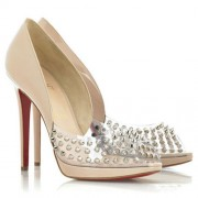 Replica Christian Louboutin Engin 120mm Peep Toe Pumps Nude Cheap Fake Shoes