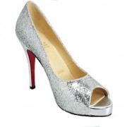 Replica Christian Louboutin Glittered 120mm Peep Toe Pumps Silver Cheap Fake Shoes