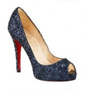 Replica Christian Louboutin Glittered 120mm Peep Toe Pumps Blue Cheap Fake Shoes