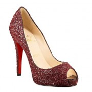 Replica Christian Louboutin Glittered 120mm Peep Toe Pumps Red Cheap Fake Shoes