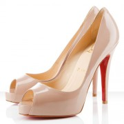 Replica Christian Louboutin Very Prive 120mm Peep Toe Pumps Nude Cheap Fake Shoes