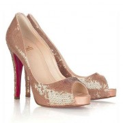 Replica Christian Louboutin Very Prive 120mm Peep Toe Pumps Brown Cheap Fake Shoes