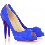 Replica Christian Louboutin Very Prive 120mm Peep Toe Pumps Blue Cheap Fake Shoes