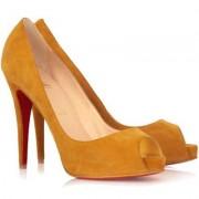 Replica Christian Louboutin Very Prive 120mm Peep Toe Pumps Brown Cheap Fake Shoes