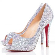 Replica Christian Louboutin Very Riche Strass 120mm Peep Toe Pumps Crystal Cheap Fake Shoes