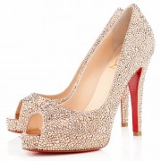 Replica Christian Louboutin Very Riche Strass 120mm Peep Toe Pumps Nude Cheap Fake Shoes