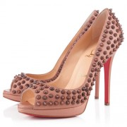 Replica Christian Louboutin Yolanda Spikes 120mm Peep Toe Pumps Nude Cheap Fake Shoes