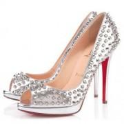 Replica Christian Louboutin Yolanda Spikes 120mm Peep Toe Pumps Silver Cheap Fake Shoes