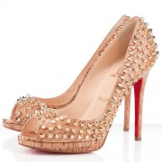 Replica Christian Louboutin Yolanda Spikes 120mm Peep Toe Pumps Natural Cheap Fake Shoes