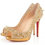 Replica Christian Louboutin Yolanda Spikes 120mm Peep Toe Pumps Gold Cheap Fake Shoes