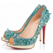 Replica Christian Louboutin Yolanda Spikes 120mm Peep Toe Pumps Green Cheap Fake Shoes
