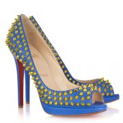 Replica Christian Louboutin Yolanda Spikes 120mm Peep Toe Pumps Blue Cheap Fake Shoes