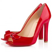 Replica Christian Louboutin Openbelt 100mm Peep Toe Pumps Red Cheap Fake Shoes