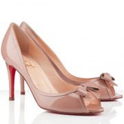 Replica Christian Louboutin Milady 80mm Peep Toe Pumps Nude Cheap Fake Shoes