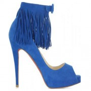 Replica Christian Louboutin Short Tina Fringe 120mm Special Occasion Blue Cheap Fake Shoes