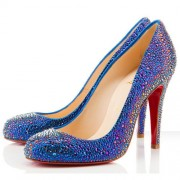 Replica Christian Louboutin Fifi Strass 100mm Special Occasion Blue Cheap Fake Shoes