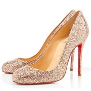 Replica Christian Louboutin Fifi Strass 100mm Special Occasion Light Peach Cheap Fake Shoes