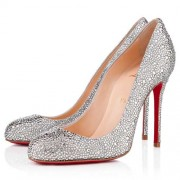 Replica Christian Louboutin Fifi Strass 100mm Pumps Silver Cheap Fake Shoes