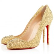 Replica Christian Louboutin Fifi Strass 100mm Pumps Yellow Cheap Fake Shoes
